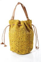 Mar y Sol Yellow Woven Straw Drawstring Double Handle Tote Handbag