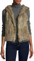 525 America Hooded Rabbit Fur Vest, Natural