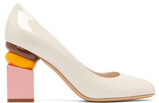 Salvatore Ferragamo Lilian Block-heel Patent-leather Pumps - Womens - Beige