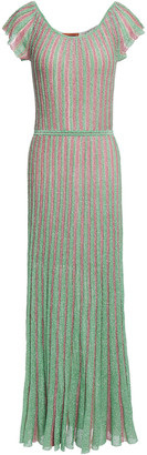 Missoni Pleated Metallic Crochet-knit Maxi Dress