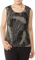 Allison Daley Petites Scoop Neck Print Pucker Knit Tank