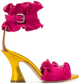 Lanvin Frill Trimmed Open Toe Sandals