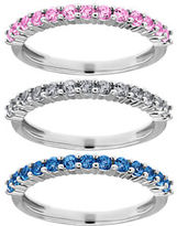 Lord & Taylor Multi-Color Sapphire and 14K White Gold Stacked Ring Set