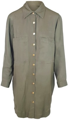 Haris Cotton Viscose Loose Fit Shirt-Dress - Olive