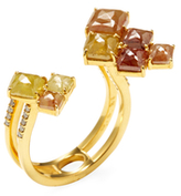 Artisan 18K Yellow Gold & 4.27 Total Ct. Colored Diamond Open Ice Ring
