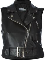 Jeremy Scott sleeveless biker jacket - women - Sheep Skin/Shearling/Polyester - 44