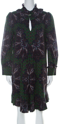 Marc by Marc Jacobs Green Wool & Silk Blend Peacock Paisley Print Short Dress L