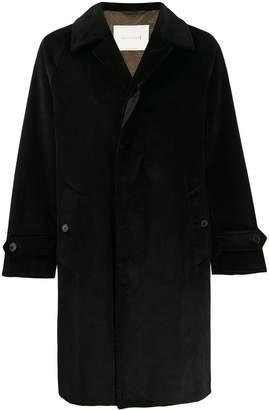 MACKINTOSH BLACKRIDGE Black Oversized Corduroy Overcoat   GM-113F