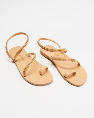 Ammos - Women's Brown Flat Sandals - Kaliroi Sandals - Size One Size, 36 at The Iconic
