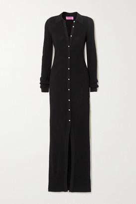 GAUGE81 Bern Swarovski Crystal-embellished Ribbed Stretch-jersey Maxi Dress - Black