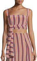 Alexis Frederick Silk Striped Crop Top, Multicolor