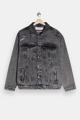 Topman Grey Ripped Denim Jacket