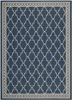 Safavieh Courtyard Collection CY5142-268 Navy and Beige Indoor/Outdoor Area Rug, 6 Feet 7-Inch by 9 Feet 6-Inch
