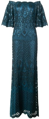 Tadashi Shoji Aimee off-shoulder sequin embroidered gown