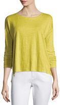 Eileen Fisher Long-Sleeve Linen Step-Hem Box Top
