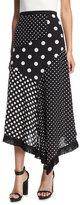 Andrew Gn Asymmetric Polka-Dot Skirt w/ Fringed Handkerchief Hem