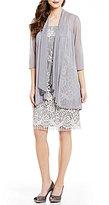 R & M Richards Collarless 3/4 Sleeve Fringe-Lace Jacket Dress