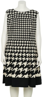 Plus Size Suite 7 Houndstooth Fit & Flare Dress