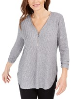 JM Collection Ribbed Zip-Detail Sweater, Created for Macy's