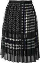 Sacai Pleated Star Print Skirt