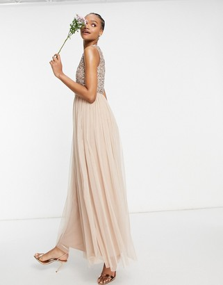 Maya Bridesmaid 2 in 1 maxi tulle dress with tonal delicate sequins in taupe blush