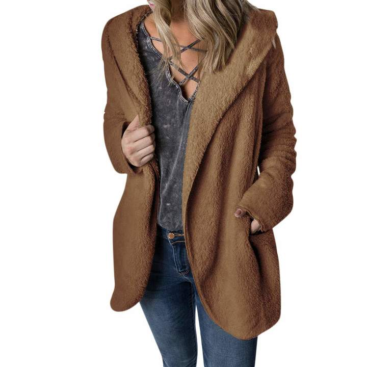 Casual Winter Warm Coat Wool Zipper Pockets Coat Outwear CieKen Women Hooded Sweatshirt