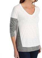 Splendid Slub Heather Grey Jersey Mix Long Sleeve V-Neck (ST9977) L/