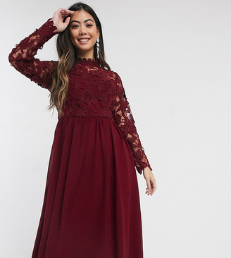 Chi Chi London long sleeve embroidered midi dress in burgundy