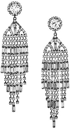 Kenneth Jay Lane Gunmetal-Plated & Crystal Banquette Waterfall Clip-On Earrings