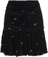 Thumbnail for your product : Ganni Ruched Floral-print Georgette Mini Skirt