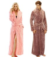 7 VEILS Women and Men MicroFleece Flannel Ultra Long Floor Length Bathrobes-Apricot-XL
