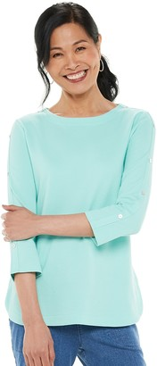 Croft & Barrow Women's Button-Sleeve Top
