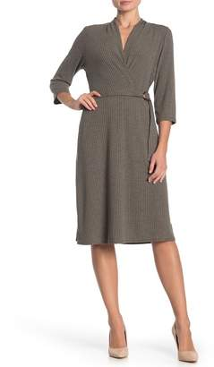 Just For Wraps Ribbed Faux Wrap Midi Dress