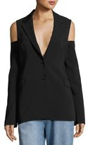 Robert Rodriguez Cold-Shoulder Two-Button Blazer, Black