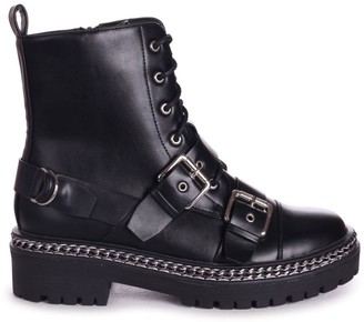 Linzi LACEY - Black Nappa Military Style Lace Up Boot With Chain & Buckle Detail
