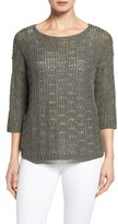 Eileen Fisher Petite Women's Organic Cotton & Linen Open Knit Bateau Neck Sweater