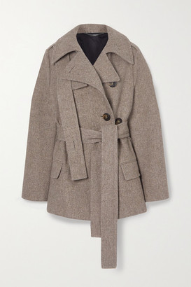 Stella McCartney Belted Wool And Linen-blend Coat - Gray