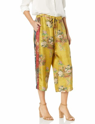 Johnny Was Women's Yellow Floral Printed Silk Pants