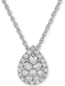"""Forever Grown Diamonds Lab Created Diamond Pear Cluster 18"""" Pendant Necklace (3/8 ct. t.w.) in Sterling Silver"""