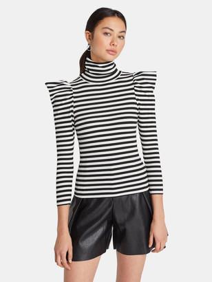 Choosy Vivienne Puff Shoulder Turtleneck Top