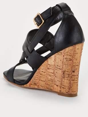 Very Giulia Ankle Strap Cork Wedge Sandal - Black