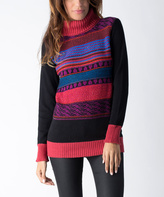 Yuka Paris Black & Fuchsia Stripe Turtleneck Sweater