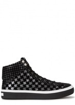 Jimmy Choo Argyle Houndstooth Metallic Leather Hi-top Trainers