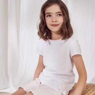 The White Company Bunny Shortie Pyjamas (1-12yrs), White/Pink, 7-8yrs