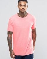 Asos Longline T-Shirt With Crew Neck In Pink Fluro