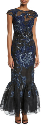 David Meister Cap-Sleeve Embroidered Tulip-Hem Gown