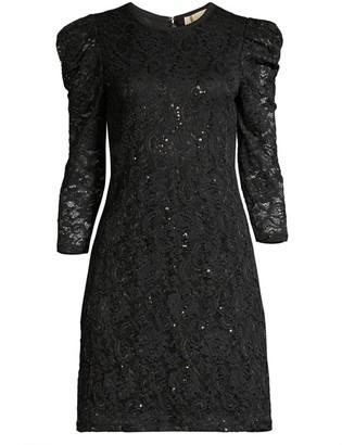 MICHAEL Michael Kors Puff Sleeve Sequin Lace Dress