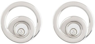 Chopard Pre Owned 18kt white gold diamond Happy earrings