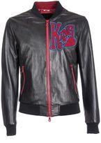 Dolce & Gabbana Patch Leather Bomber Jacket