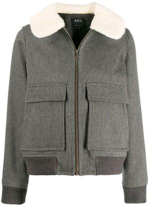 A.P.C. Faux Fur Collar Jacket
